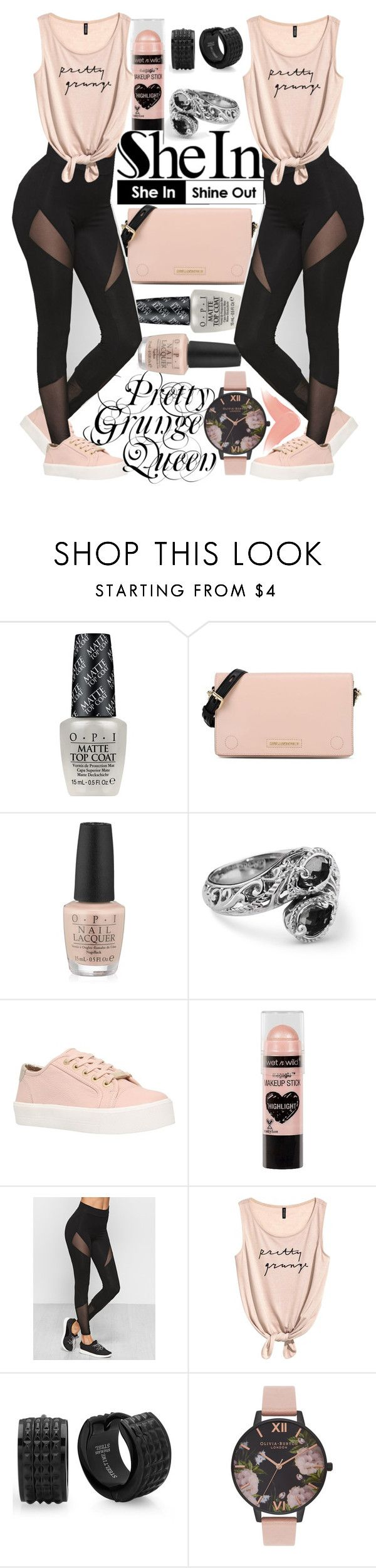 """""""Pretty Grunge Queen"""" by thea-bleasdille ❤ liked on Polyvore featuring OPI, Karl Lagerfeld, Carvela, Wet n Wild, Olivia Burton and Burberry"""
