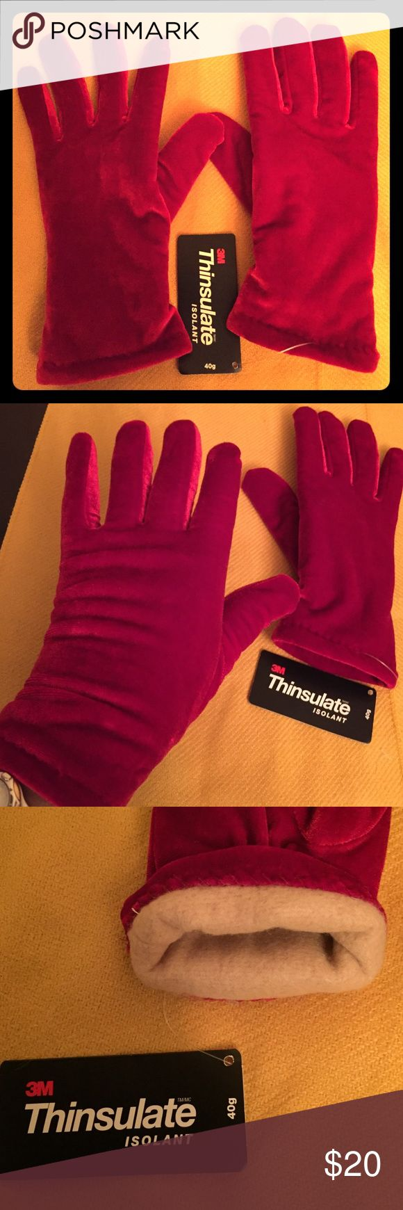 🆕 Red Velvet Gloves Red Velvet Gloves with Thinsulate Isolant 40 Gram Lining. OS. Outer: 90% Polyester/10% Spandex. Soft Fabric Inside & Outside. Tan Fleece Lining. Elasticized Backs. Gloves come right Below Your Wrists. Brand New. Excellent Condition. No Trades. Cejon Accessories Gloves & Mittens