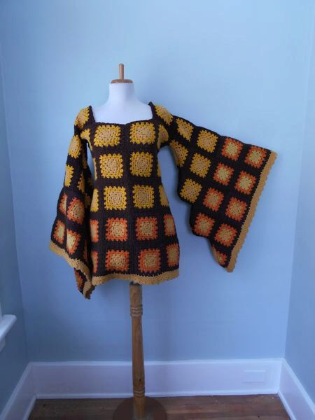 Vintage Grannysquare granny square festival dress 1960s 1970s Hand Knit Crochet Angel Bell Sleeve HIPPIE Orange Brown & Yellow Gold MiDi Mini Afghan Dress by trash5thave on Etsy https://www.etsy.com/listing/270177798/vintage-1960s-1970s-hand-knit-crochet