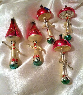 Vtg Antique Figural Face Italian Mushroom Men Italy Glass Xmas Ornaments