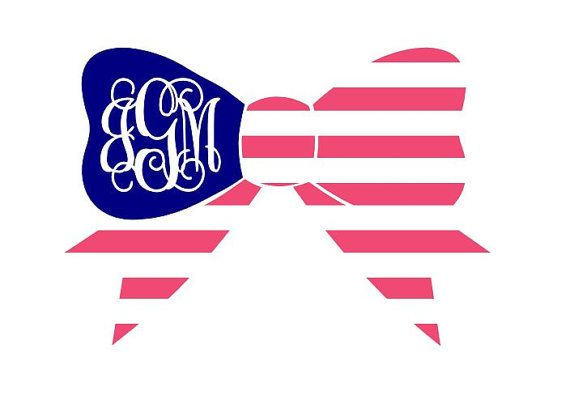"""5"""" Patriotic Bow Monogram Sticker car decal by DecalInnovations, $6.00"""