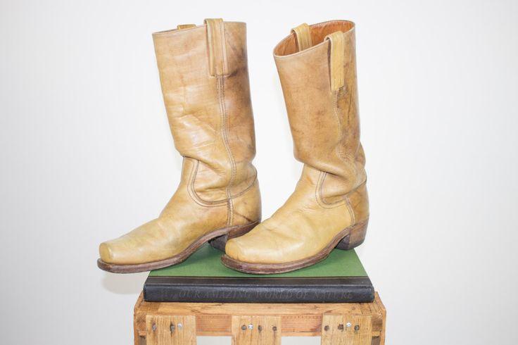 Vintage Frye Campus Boots | 70s Tan Leather Cowboy Boots | Men's 9.5 D UK 9 Euro 42 - 43