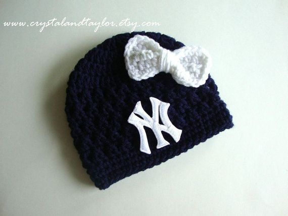 Ready to Ship, New York Yankees Baby Girl Hat, Newborn Hat, Baby Crochet Hat, Baseball Hat, Baby Boy Hat, Photo Prop, Baby Beanie on Etsy, $20.99