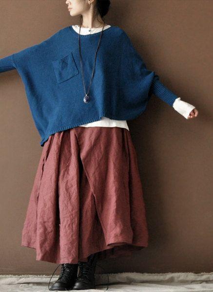 Linen Irregular Long Skirt Dark Pink Women Clothing by deboy2000