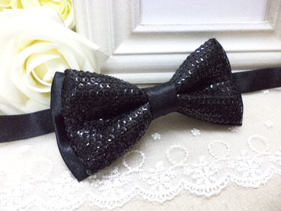 Black sequin bow tie with satin layer black bow tie by RollingBow