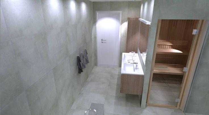 3d ritning med bastu och ljusa badrumsmöbler...