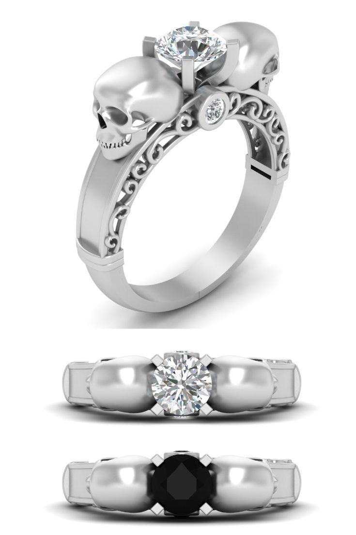 99bcaae6557f2c Diamond Skull Ring Womens Skull Ring, Diamond Skull Engagement Ring For  Womens, Skull Wedding