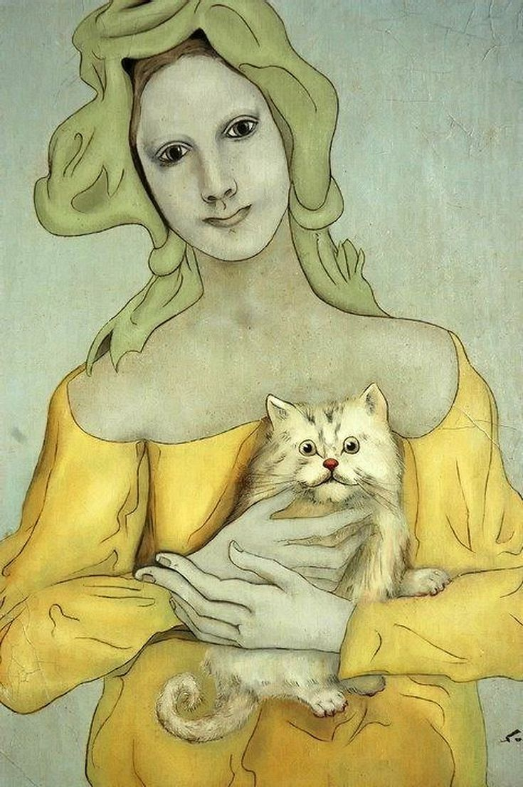 Léonard Tsugouharu Foujita, 藤田 嗣治, Fujita Tsuguharu (1886 -1968) — Woman and Cat…