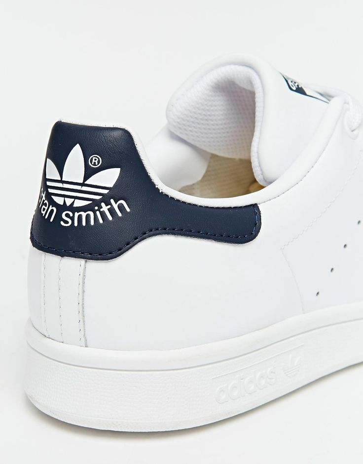 Image 4 of adidas Originals Stan Smith White & Navy Sneakers
