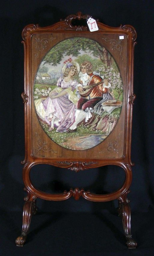 """ANTIQUE FRENCH HAND CARVED MAHOGANY FIREPLACE SCREEN WITH TAPESTRY Heavily carved frame with an oval tapestry with courtship scene. 45 1/2"""" ..."""