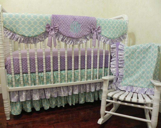Crib Blanket Floral Crib Bedding Baby Girl Blanket Dreamcatcher Grey and Aqua Wholecloth Blanket Toddler Blanket Purple