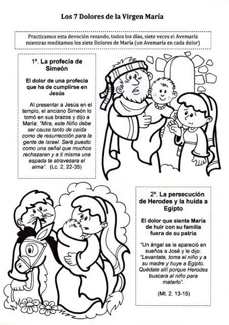 El Rincón de las Melli: Los siete dolores de la Virgen Maria para meditar y colorear