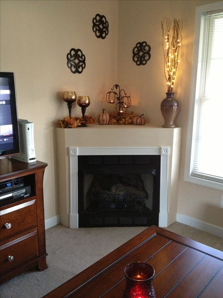 Corner fireplace mantle fall decor. Miss my fireplace!