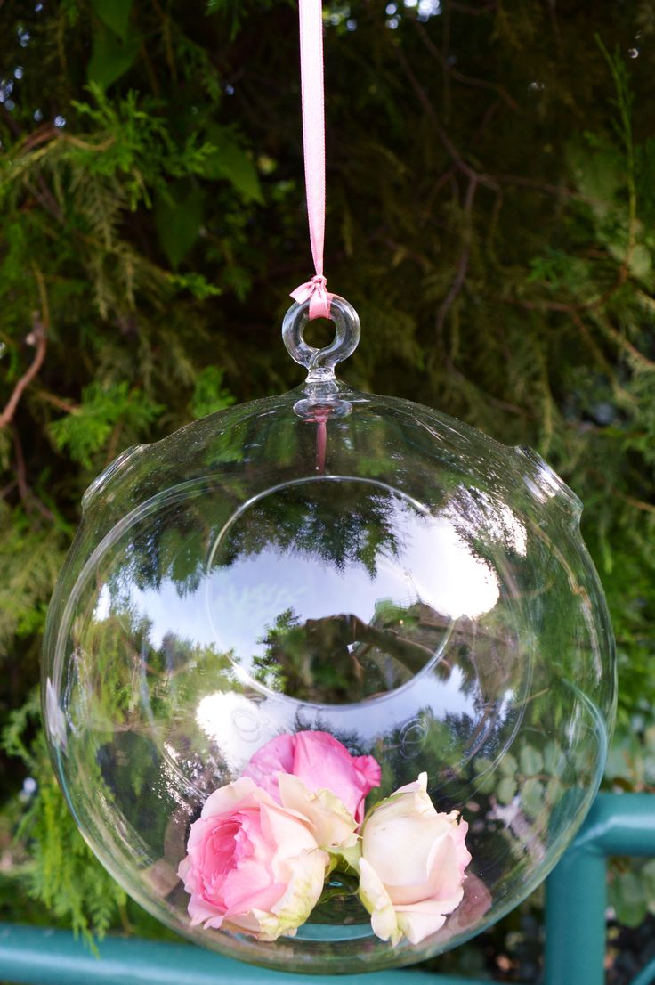 Glass Ball and pink flowers