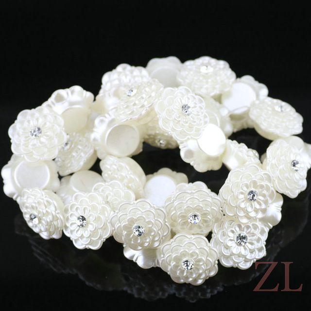 Elegante Blanco Mosaico Rhinestone Mujeres flor perlas de imitación de Acrílico espaciador de los granos para Las Pulseras DIY Collar de La Joyería Que Hace