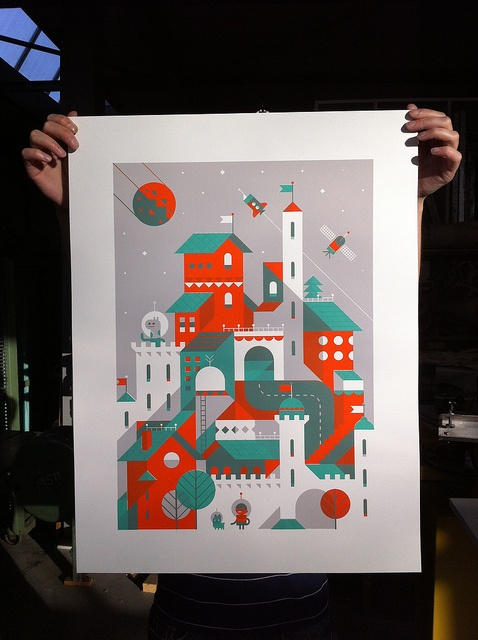 Three Color Screen Print Using Some Great Negative Space And Transparency Here To Add Depth