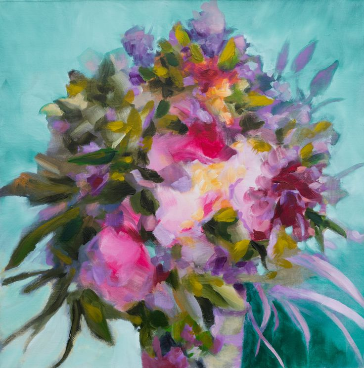 View Bouquet with viridian background by Fabienne Monestier. Browse more art for…