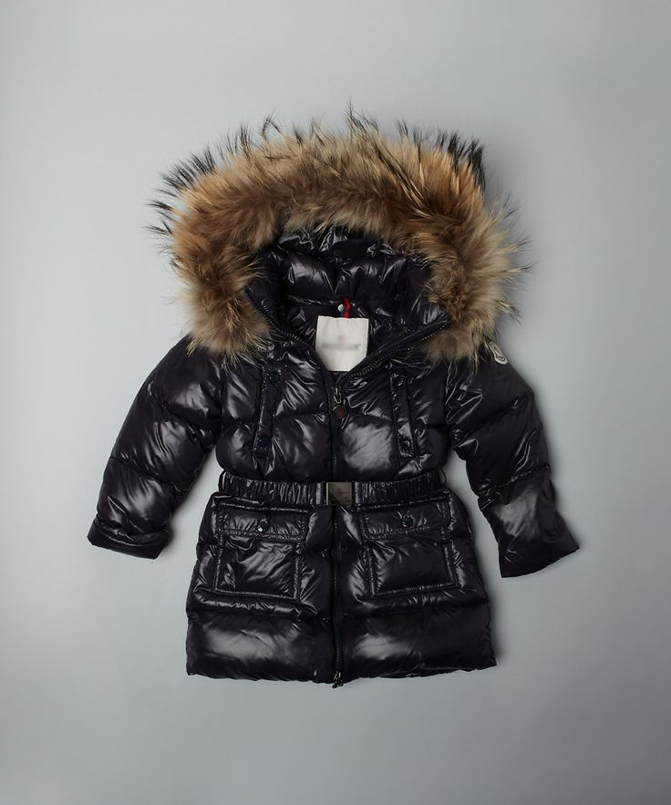 Hot Sale Boys Black Warm Quilted Fluffy Real Fur Hood