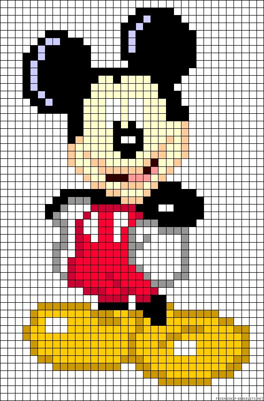 Mickey Mouse perler bead pattern...dude. I bet you could use this for a quilt pattern. It's literally just squares.