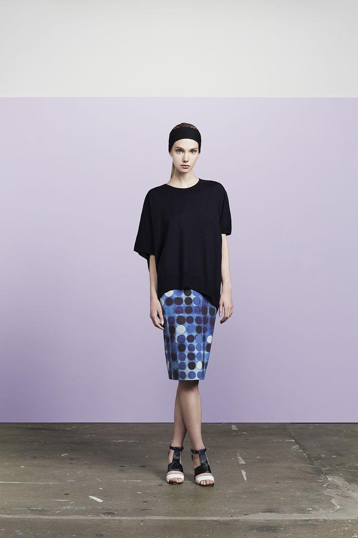 Nimmi uneven merino wool t-shirt worn with Stam short pencil skirt
