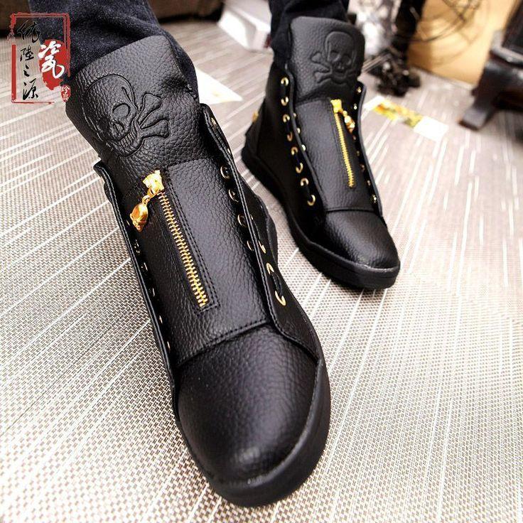 Men's Leather Skull Shoes Hip Hop Casual Shoes //Price: $62.99 & FREE Shipping //     #skull #skullinspiration #skullobsession #skulls