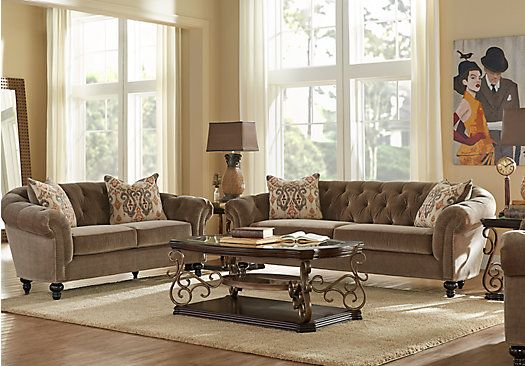 Shop for a cindy crawford home meredith taupe 5 pc living for Cindy crawford living room furniture