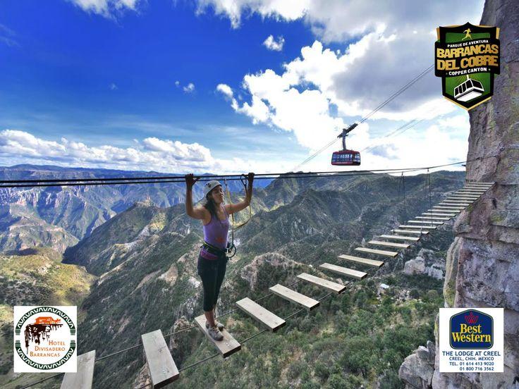 """#barrancas #cobre #barrancasdelcobre #turismo#chihuahua#aventura#ciclismo BARRANCAS DEL COBRE te invita a El asombroso Parque de Aventuras Barrancas del Cobre el cual cuenta con una vía ferrata que consta de rappel, escalada en roca y un pequeño puente colgante al que se accede por medio de un """"salto de Tarzán"""". www.chihuahua.gob.mx/turismoweb"""