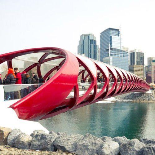 Peace Bridge is a pedestrian bridge, designed by Spanish architect Santiago Calatrava in Calgary, Canada for pedestrians and cyclists.