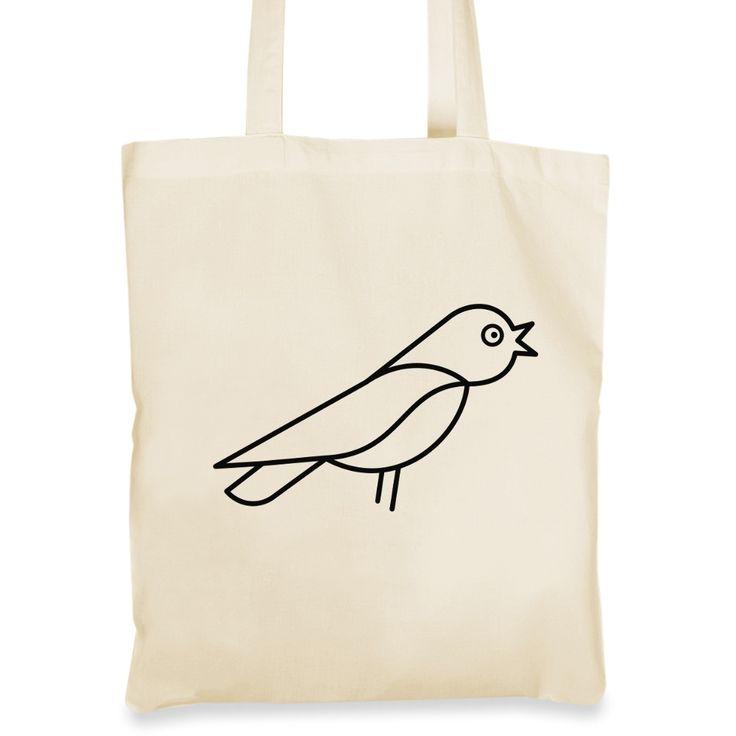 Plátěná taška se sojkou radostně prozpěvující
