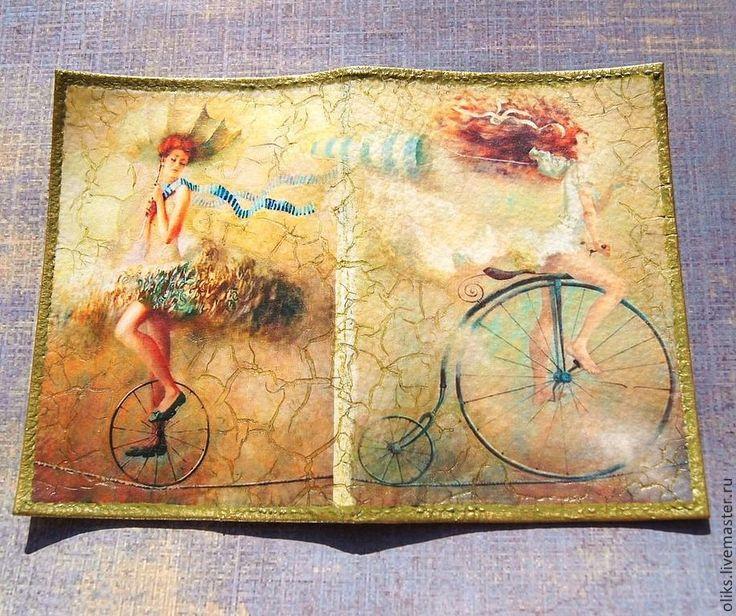 Купить Обложка на паспорт Воздушные велосипедистки 2 - кожаная обложка, обложка на паспорт, подарок, велосипедистки