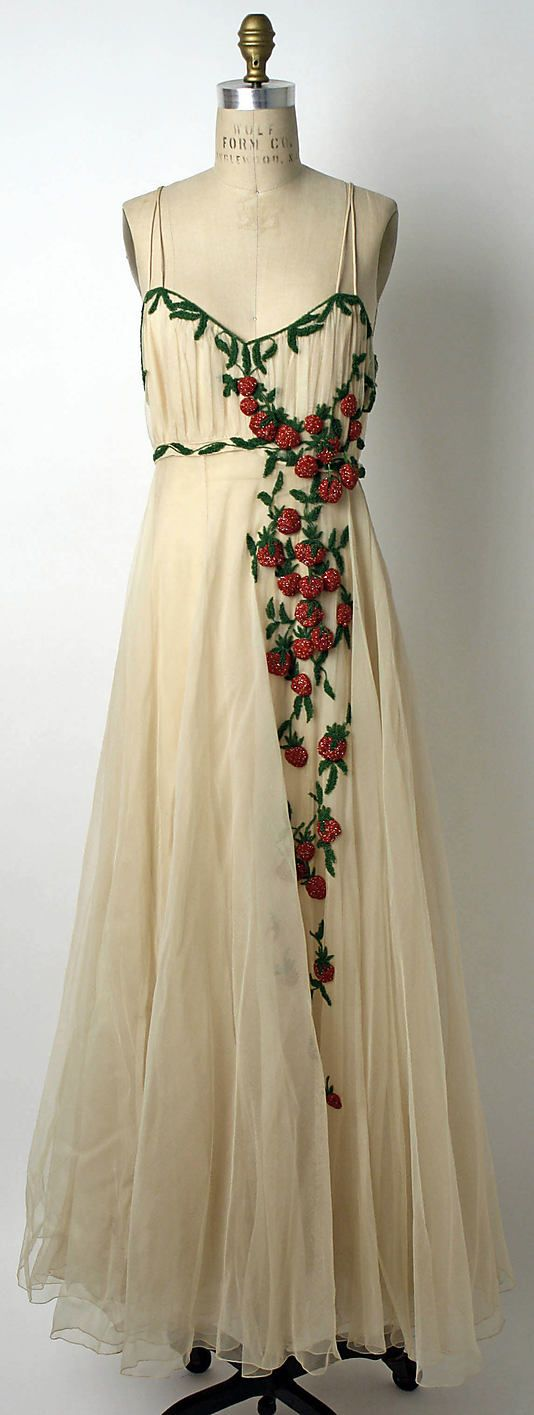 """Silk evening dress with glass bead berries and vines, by Mark Mooring for Bergdorf Goodman, American, 1942. Label: """"Bergdorf-Goodman in the Plaza, N.Y./Mrs. E. Garbisch, 6/11/42/No. 36352"""""""