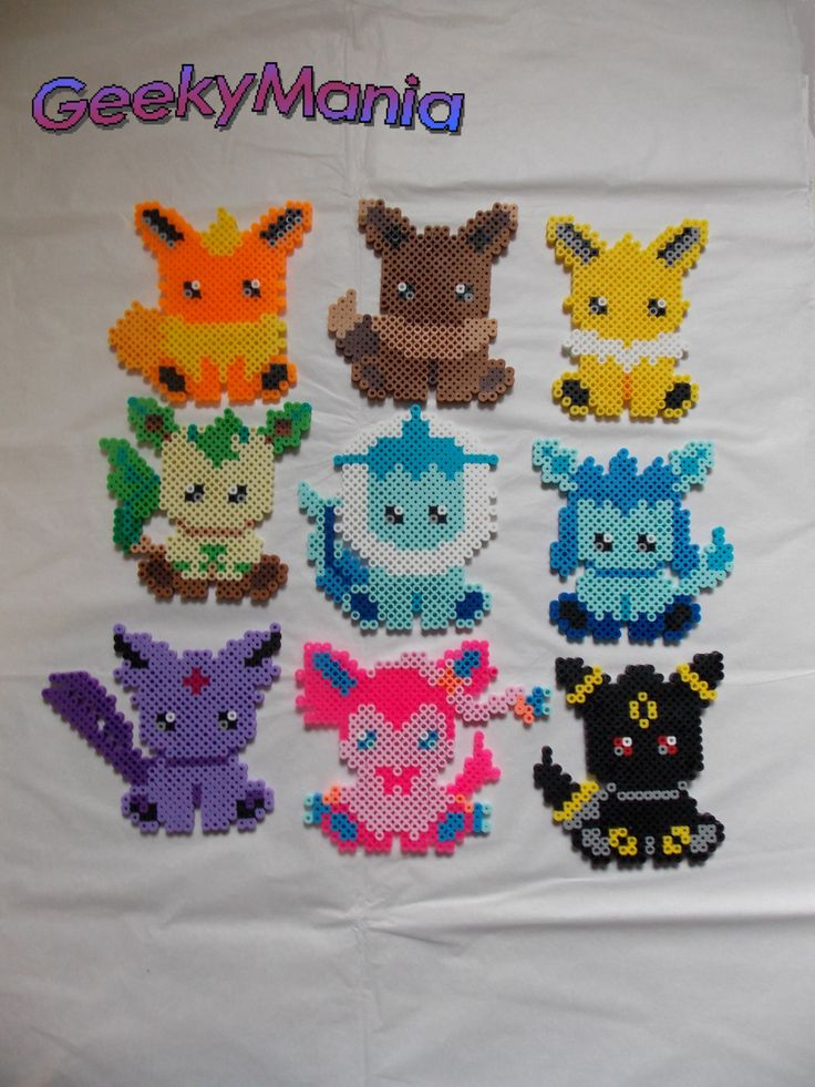 Pokemon Eevee Evolution Perler Beads by GeekyMania