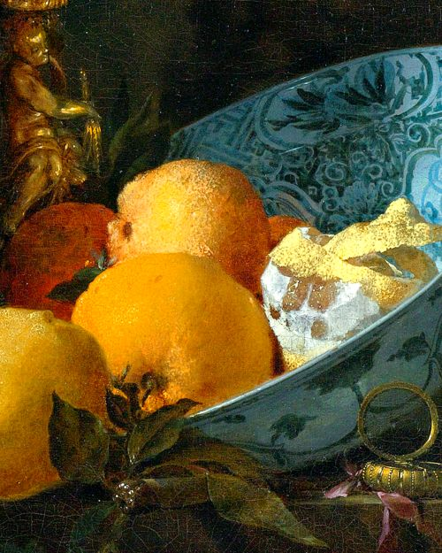 Still Life with Silver Jug (detail), by Willem Kalf.