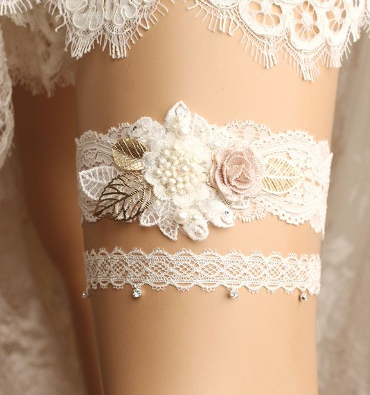 wedding garter set bridal garter set lace garter by GadaByGrace