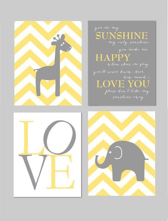 "Yellow and Gray Nursery You Are My Sunshine Elephant Giraffe Love Chevron Prints - Art for Nursery - Set of four 8""x10"" prints"