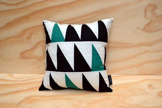 Geometric cushion cover triangles // black, white, seagreen/blue // 40x40 cm // 16 x 16 inch