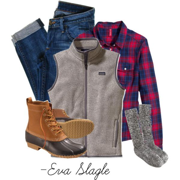 Patagonia, Plaid, and not a fan of the boots but love the plaid and the outdoorsy jeans
