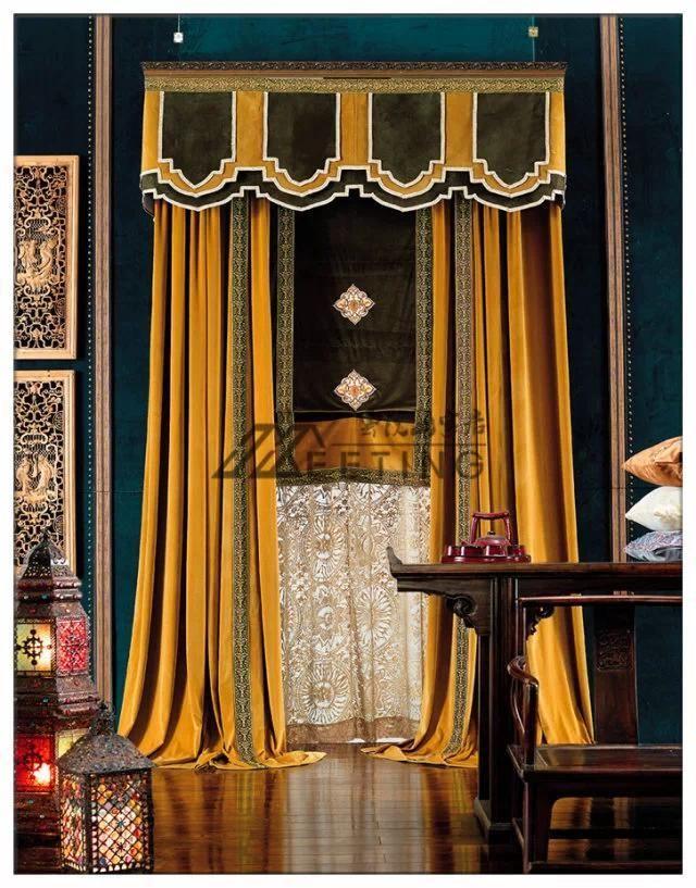 beautiful drapery in velvet fabrics