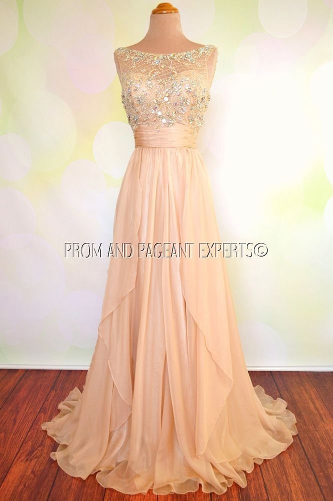 061740f3ce NWT NUDE PROM PAGEANT EVENING FORMAL WEDDING BALL LONG GOWN DRESS S 4 in  Clothing