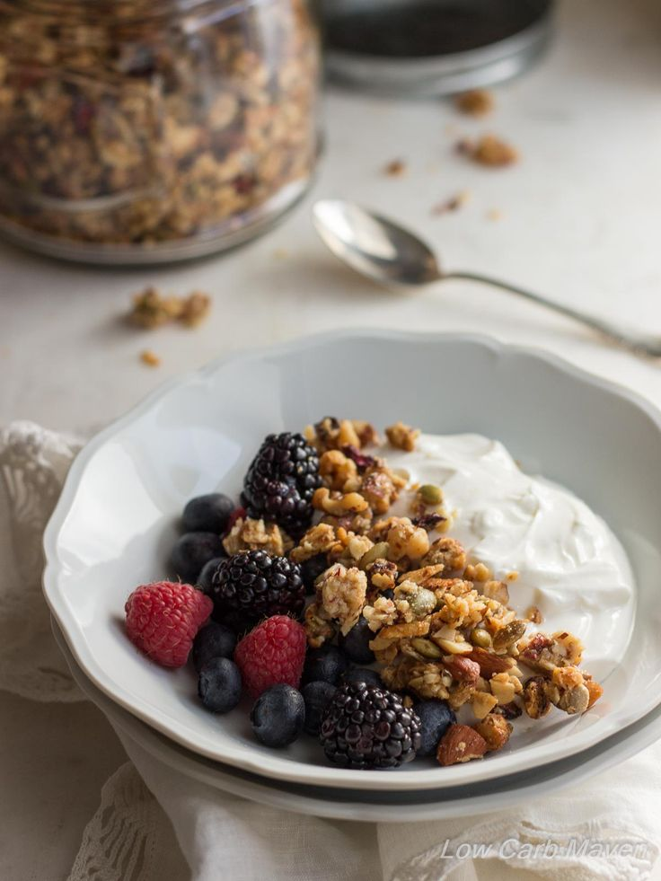 This Low Carb Granola is made from nuts & seeds is sugar-free | low carb, gluten-free, dairy-free, Paleo, Keto, THM. Great for low carb breakfasts, snacks and dessert!