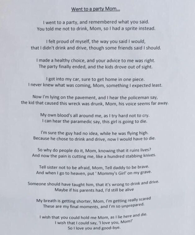 Went To A Party Mom Poem 20