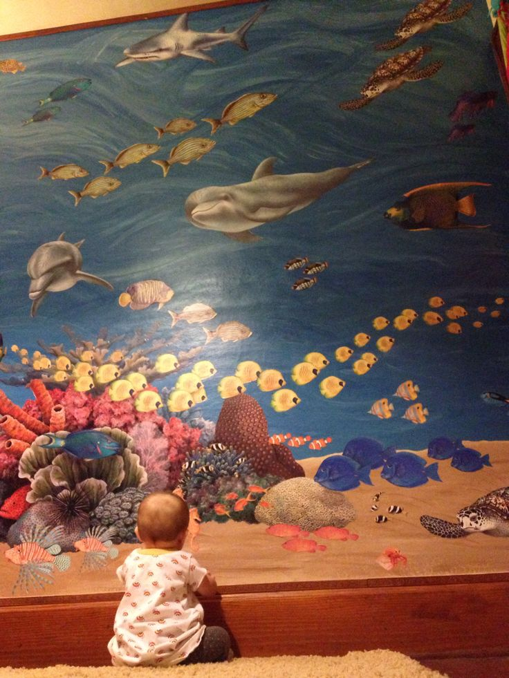 Underwater ocean baby mural nursery baby ideas for Underwater mural ideas