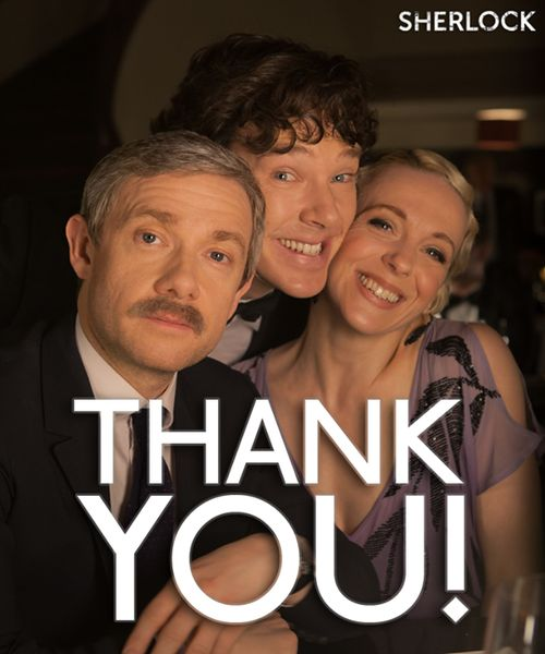 Adorable #Sherlock thank you photo of Benedict Cumberbatch, Amanda Abbington and Martin Freeman for 3 million fans on Facebook