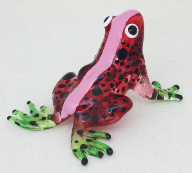 Figurine Miniature Animal Hand Blown Glass Red Frog