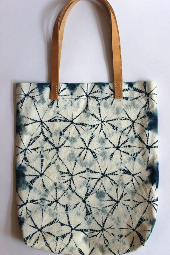 Charlotte Bartels - Spiderweb Shibori Plant Dyed Cotton Tote Bag Shoulder Bag with Leather Handles Indigo Blue