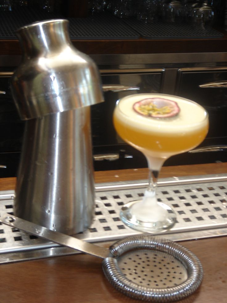 Cocktail with passion fruit puree