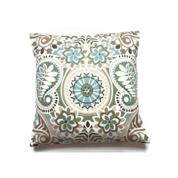 Decorative Pillow Cover Sage Green Blue Taupe Brown Throw Toss Accent Paisley Damask Same Fabric Front Back Inch X