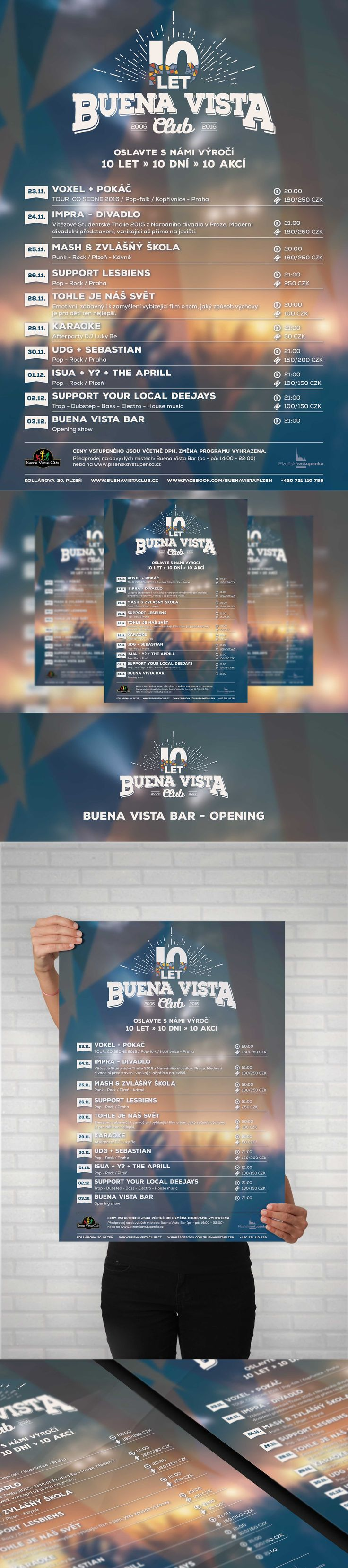 Buena Vista Club Event list - A1, A2, A5 Poster, Facebook event header and preview. Poster design was created according to interior of club. #poster #posterdesign #fbheader #graphicdesign