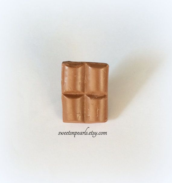 Sweet Deco Decoden Miniature Dollhouse Kawaii Fimo Polymer Clay Handmade Piece Of Chocolate Bar Lacta Brown Silver Plated Adjustable Ring