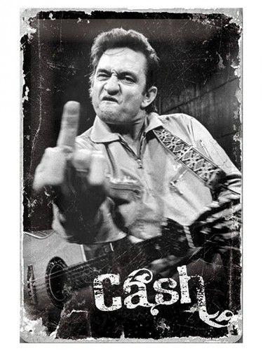 Muurplaat Johnny Cash 20 x 30 cm. Vintage design tinnen muurplaat van the Man in Black: Johnny Cash. De muurplaat is 20 x 30 cm groot en heeft vier gaatjes voor het ophangen.